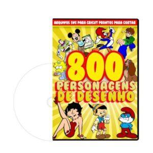 800 Personagens de desenho animado em arquivos de corte para Cricut e Silhouette
