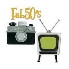 Sizzix Thinlits Die Set 11PK - Retro TV, Camera & Fab 50s by Jen Long