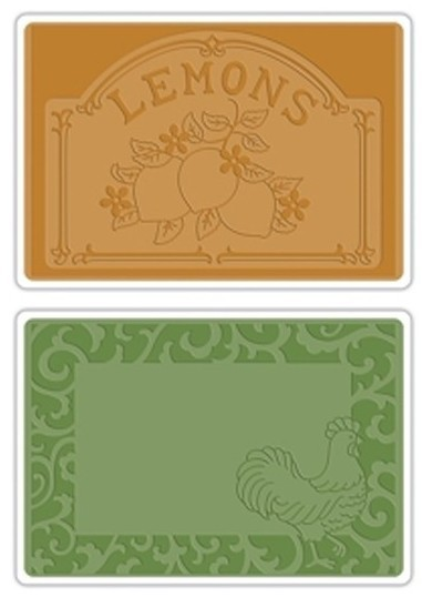 Sizzix Textured Impressions Embossing Folders 2PK - Rooster Frame & Lemon Label Set by Jen