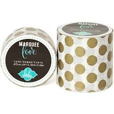 Marquee Tape - HS - Washi - 7/8 - Gold Foil Polka Dot - 12 Feet