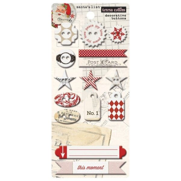 Santas List - Chipboard Buttons