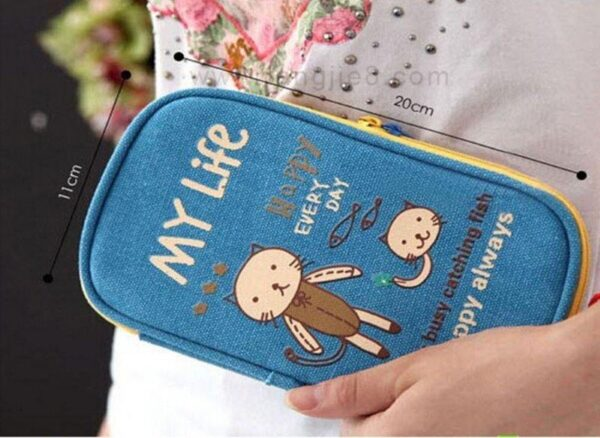 Estojo Kawaii para Planner Book gatinho azul