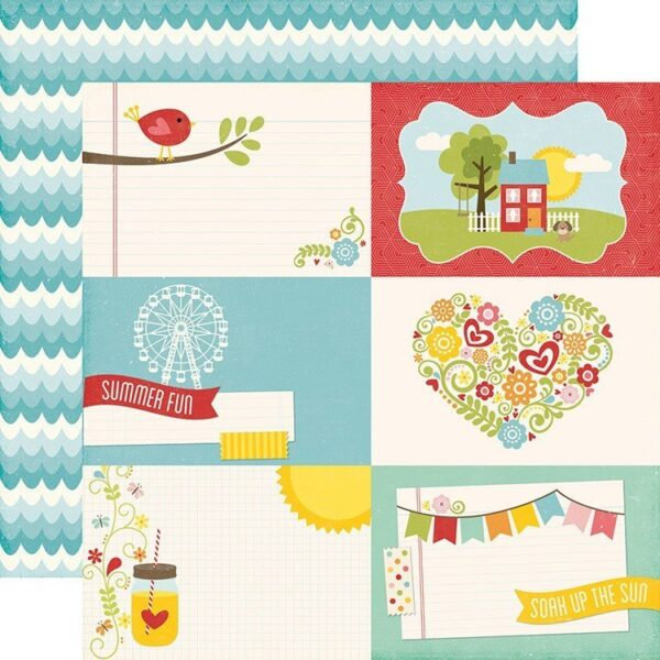 Papel para scrapbooking Echo Park 4X6 Journaling Cards Happy Summer 2016