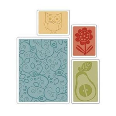 Sizzix Textured Impressions Embossing Folders 4PK - Flower, Owl & Pear Set by BasicGrey