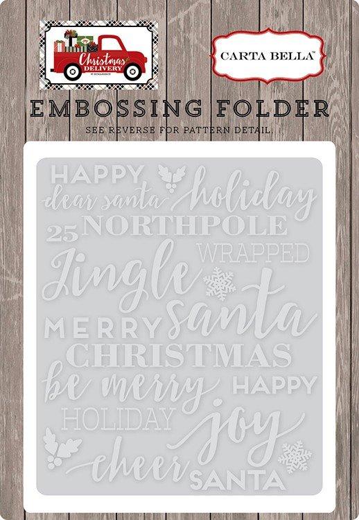 Embossing Folder -Holiday Phrases