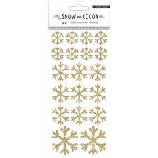 Stickers - CP - Snow & Cocoa - Gold Glitter Snowflakes
