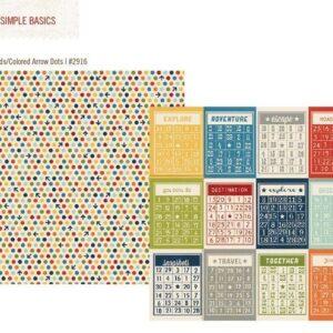 Papel para scrapbooking Simple Stories Bingo Cards/Travel Dots