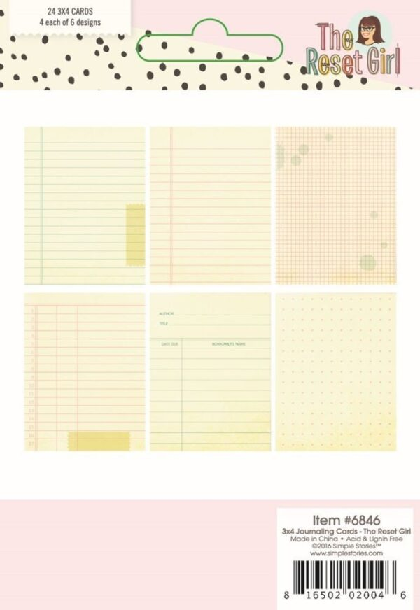 3x4 Journaling Cards - The Reset Girl Scrapbook - P