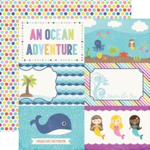 Papel para scrapbbooking Echo Park 4x6 Journaling Cards Lets Be Mermaids - P