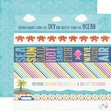 Papel para scrapbbooking Echo Park Border Strips Lets Be Mermaids - P