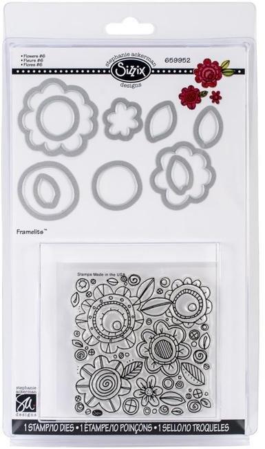 Sizzix Framelits Die Set 10PK w/Stamps - Flowers 6 by Stephanie Ackerman