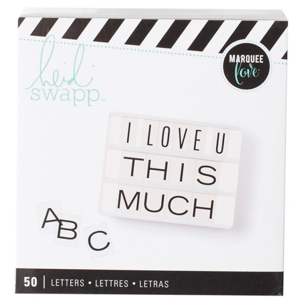 Alphabet Inserts - HS - Lightbox - Wide Black (50 Piece) - P