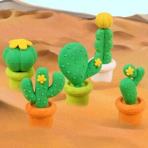 Borracha Kawaii Cactus - Kit verde com 5 unidades