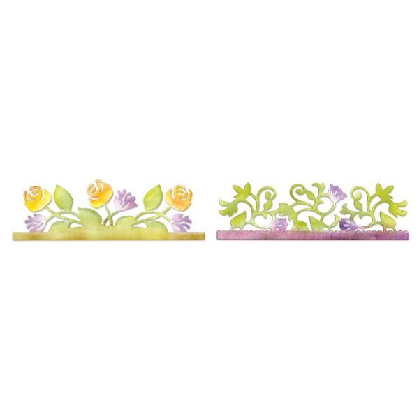 Sizzlits Decorative Strip Die - Card Edges, Botanical & Rose Garden by Scrappy Cat - P