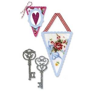 SIZZLITS DECORATIVE SETS (3 DIES) - Banners & Keys Set by Scrappy Cat - P