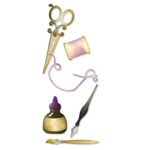 SIZZLITS DECORATIVE SETS (3 DIES) - Sewing & Writing Set by Debi Adams - P