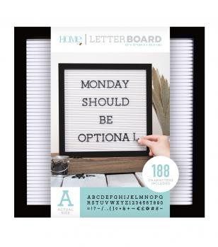 Letter Boards - DCWV - Black Frame with White - 12x12 (191 Piece) - P