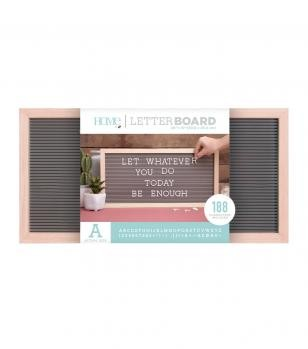 Letter Boards - DCWV - Oak Frame with Gray - 20x10 (191 Piece) - P