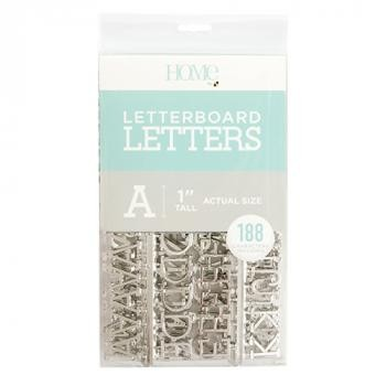 Letter Packs - DCWV - Letter Board - 1 Inch - Silver (188 Piece) - P