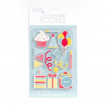 Icon Packs - DCWV - Letter Board - Celebration (15 Piece) - P