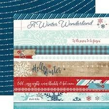 Papel para scrapbooking Echo Park Border Strips A Perfect Winter - Sep - P