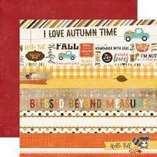 Papel para scrapbooking Echo Park Border Strips A Perfect Autumn - P