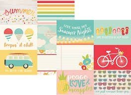 Papel para scrapbooking Simple Stories 4x6 Horizontal Elements Summer Days