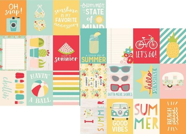 Papel para scrapbooking Simple Stories 3x4 Journaling Card Elements Summer Days