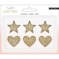 Embellishments - CP - MH - Magnet Studio - Hearts & Stars - Glitter - (6 Piece) - P