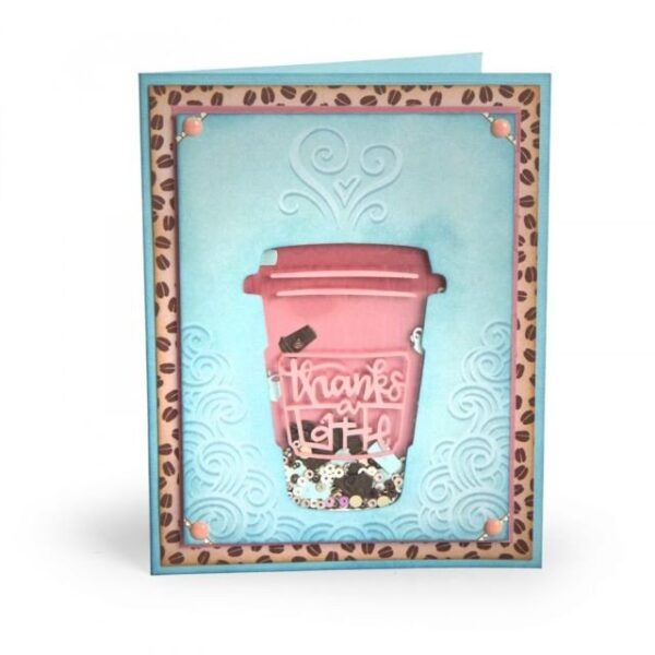 Sizzix Impresslits Embossing Folder - Thanks a Latte by Lindsey Serata - P