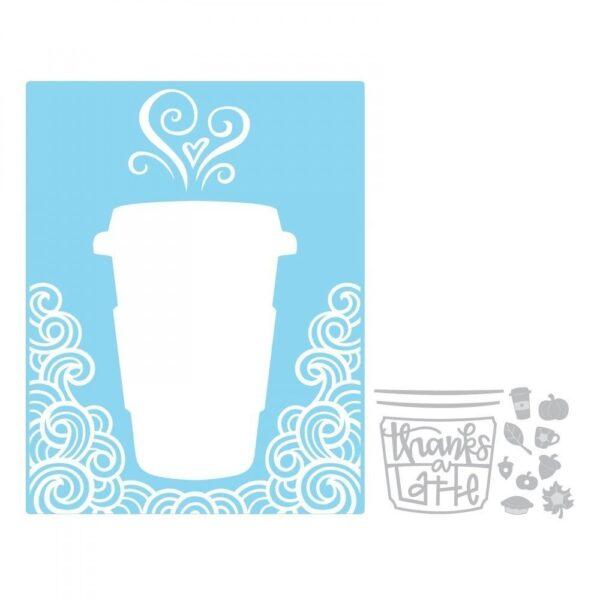 Sizzix Impresslits Embossing Folder - Thanks a Latte by Lindsey Serata - P